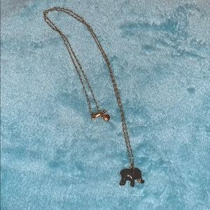 JCREW Elephant necklace on long gold chain NEW